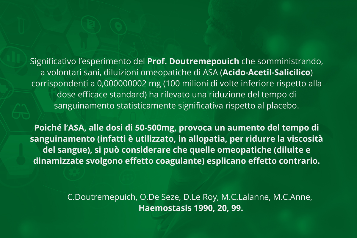 C.Doutremepuich, O.De Seze, D.Le Roy, M.C.Lalanne, M.C.Anne, Haemostasis 1990, 20, 99. aspirina in diluizione omeopatica. l'aspirina a dosi normali provoca sanguinamento, a dosi omeopatiche lo inibisce.