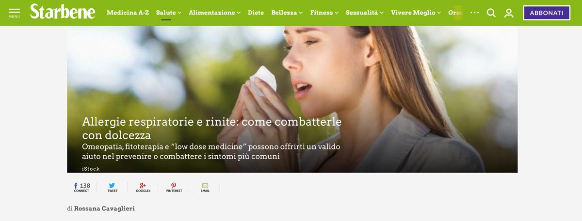 Starbene recensisce il Pollen Histamine per la cura omeopatica delle allergie