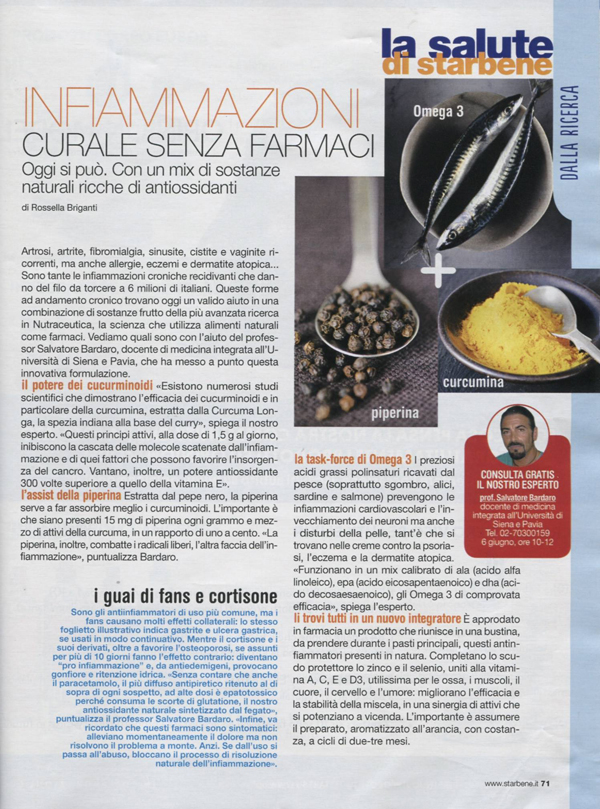 curcuma omega 3 piperina starbene bardaro