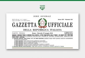 Gazzetta Ufficiale: A.I.C. VANDA 5, VANDA 11, VANDA 26.