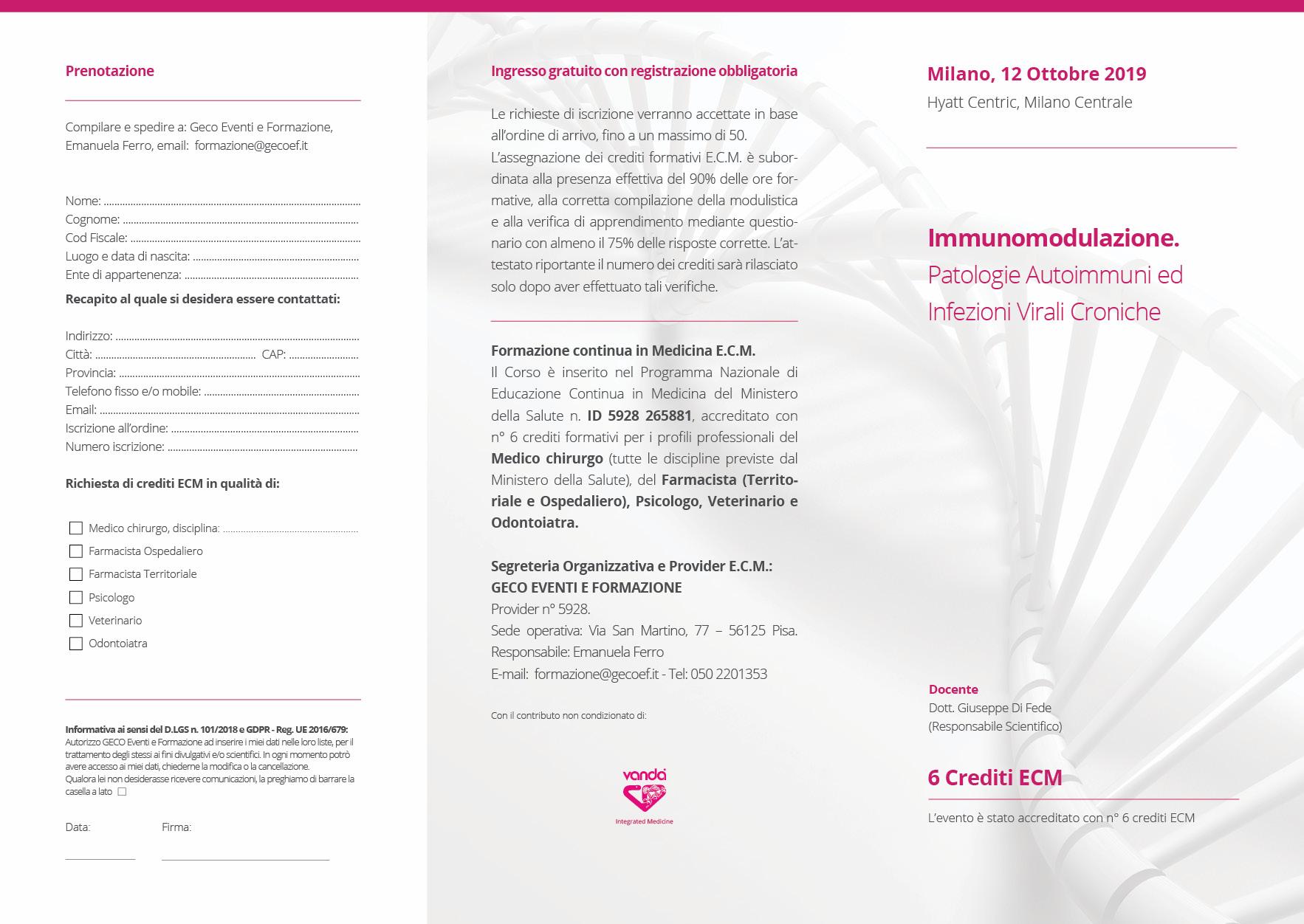 Milano, 12 Ottobre 2019: Immunomodulazione Patologie