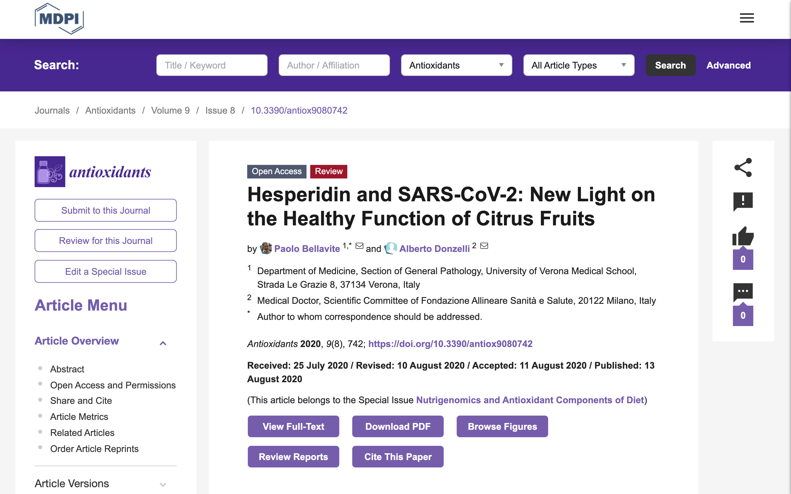 Esperidina, proprietà e studi sul suo utilizzo per il trattamento dei pazienti affetti da Sars Cov 2